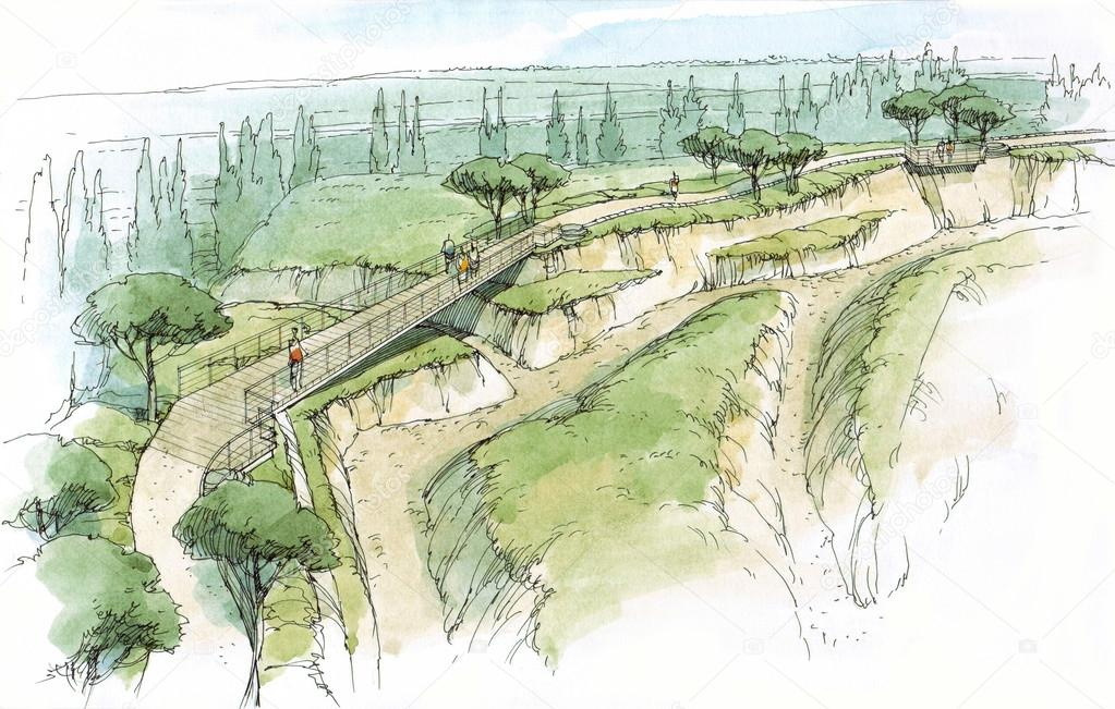 bridge between the hills