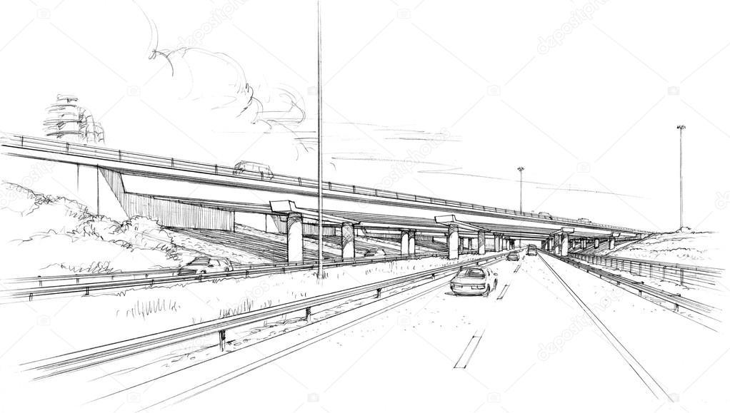 skew bridge on the freeway