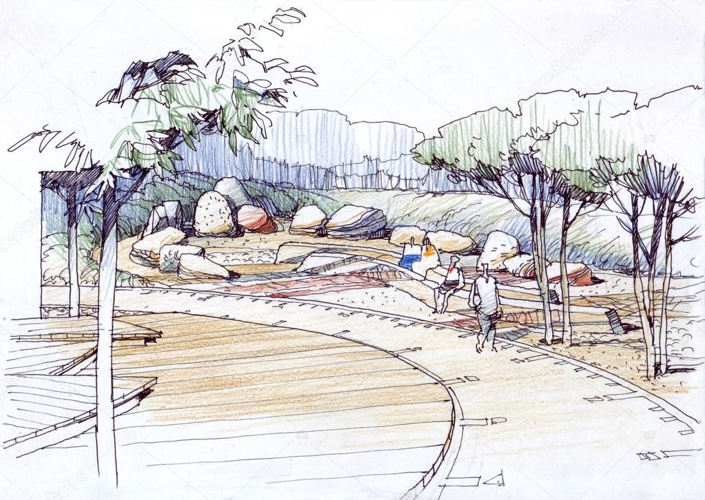 architectural drawing rock garden