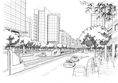 city highway - architectural drawing