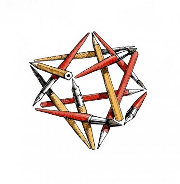 Star tetrahedron of the brushes, pencils, pens - color