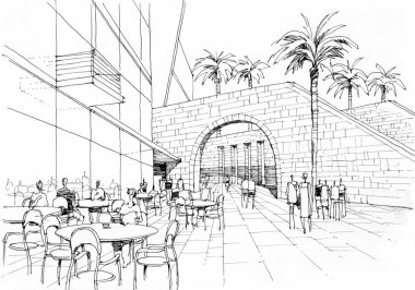 cafe with arch