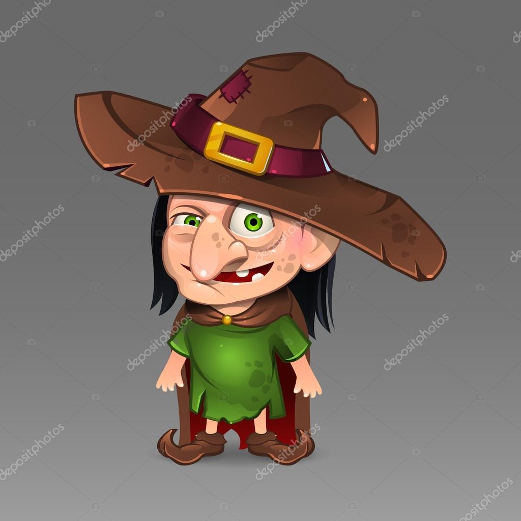 Caricatura bruja con sombrero — Vector de stock © uropek8 #112543080