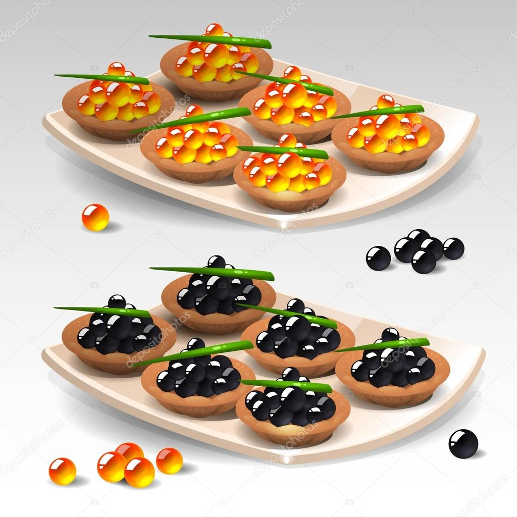 Canapes with caviar stock vector uropek8 61330529 for Canape vector download