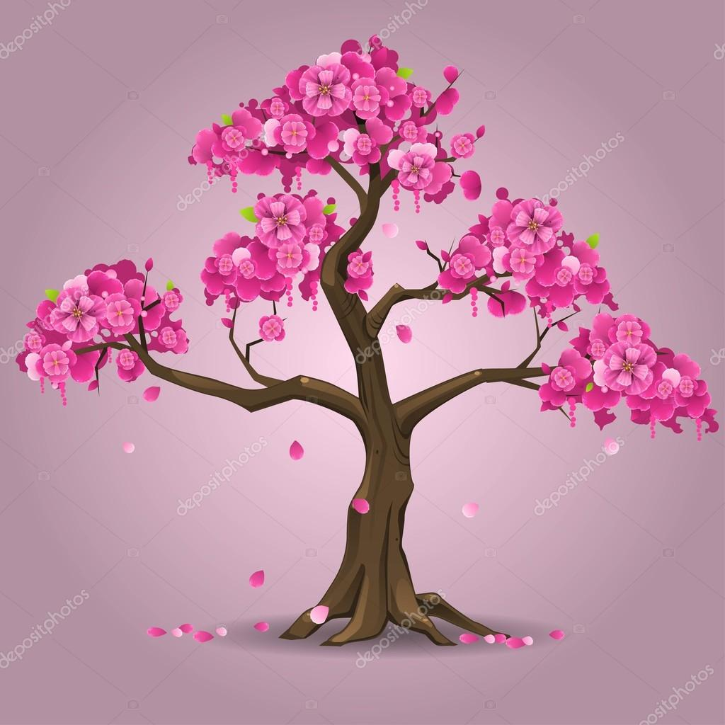 Japanese sakura tree stock vector uropek8 70985671 Japanese cherry blossom tree