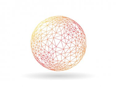 Geometric transitional polygonal globe. Unusual vector graphic template. Isolated on white background.