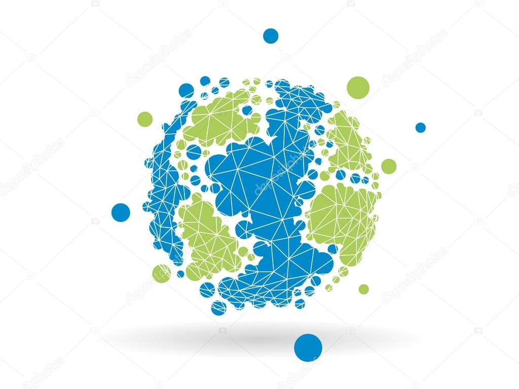 Colorful dotted geometric earth globe sphere. Vector graphic.
