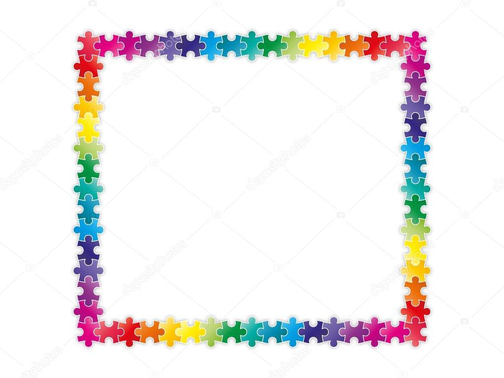 Frontera de marco multicolor rompecabezas — Vector de stock © iterum ...