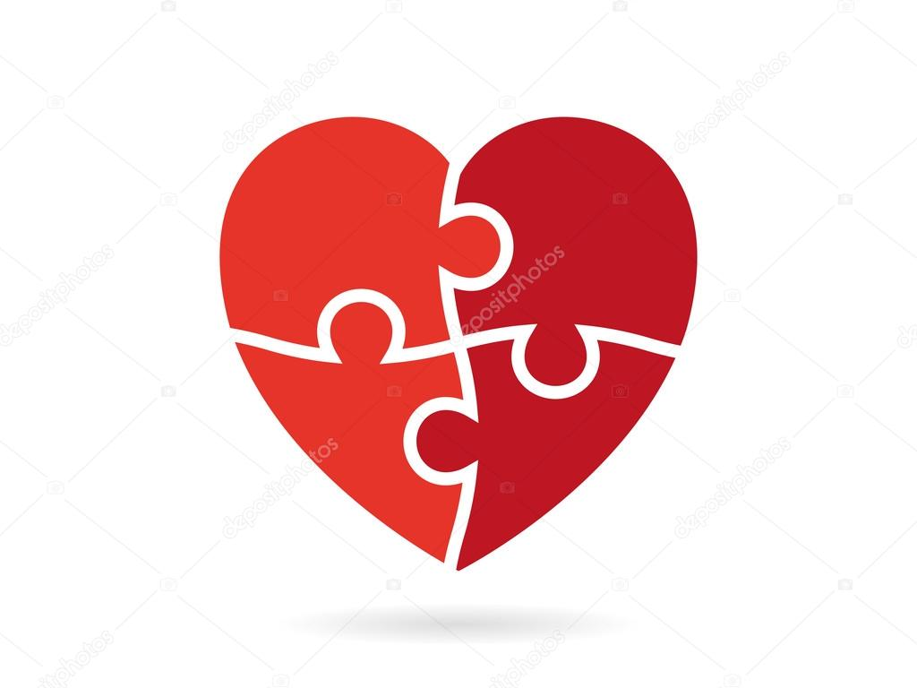 heart shaped puzzle vector graphic template illustration isolated on