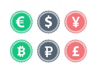 Euro Dollar Yen Yuan Bitcoin Rubel Pound mainstream currencies symbols on grunge vintage hipster style stamp badge sign vector illustration graphic template isolated on white background