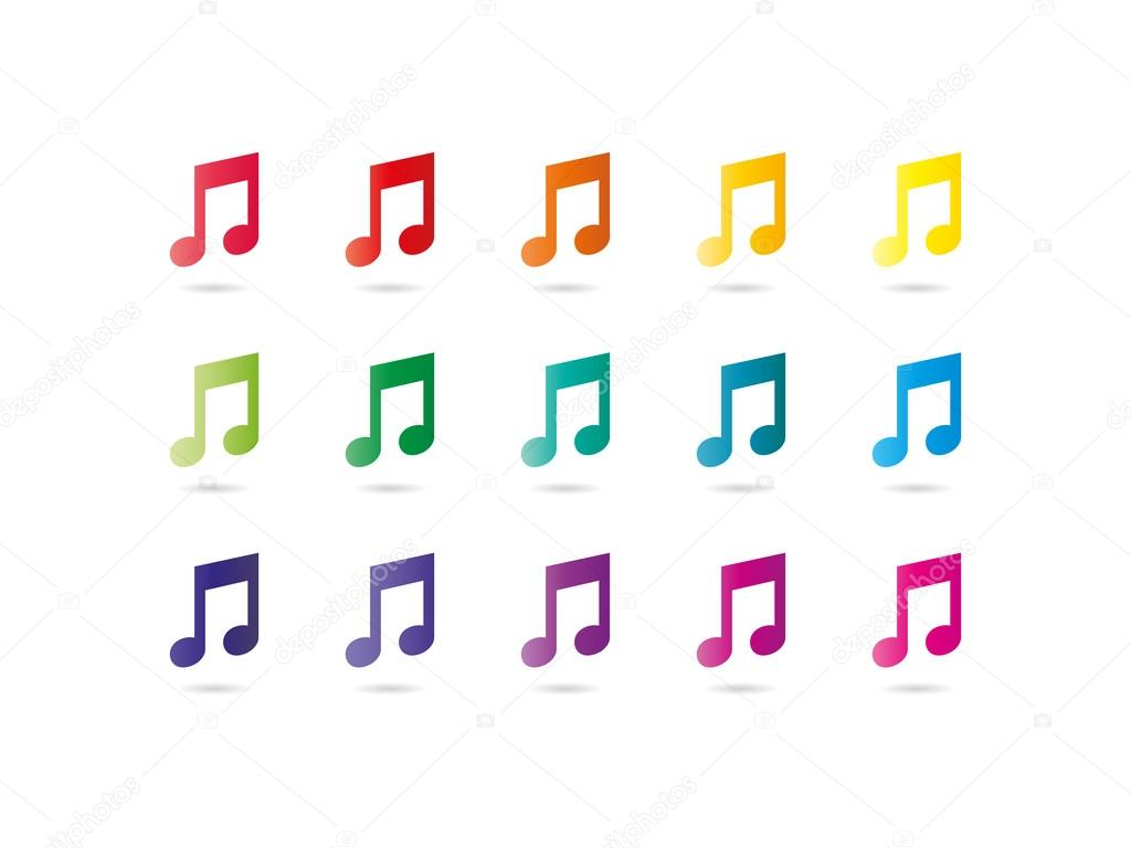 colored music notes background