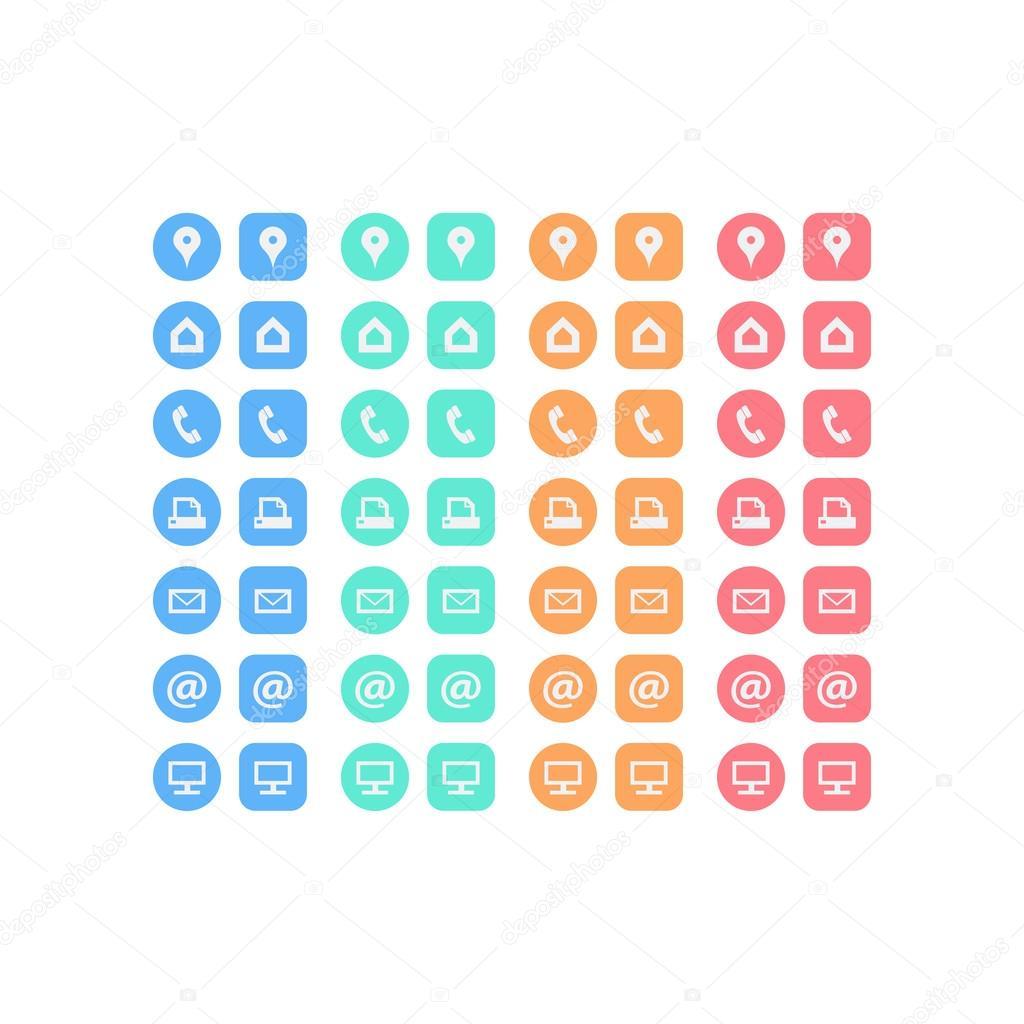 Jeu Dicones De Plat Polyvalents Pour Carte Visite Multicolore Des Icones Web Affaires Finance Et Communication Modele Graphique Vecteur
