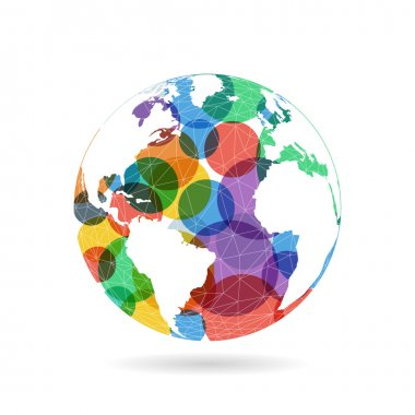 Geometric abstract earth globe sphere concept illustration. Vector graphic template isolated on light white background.