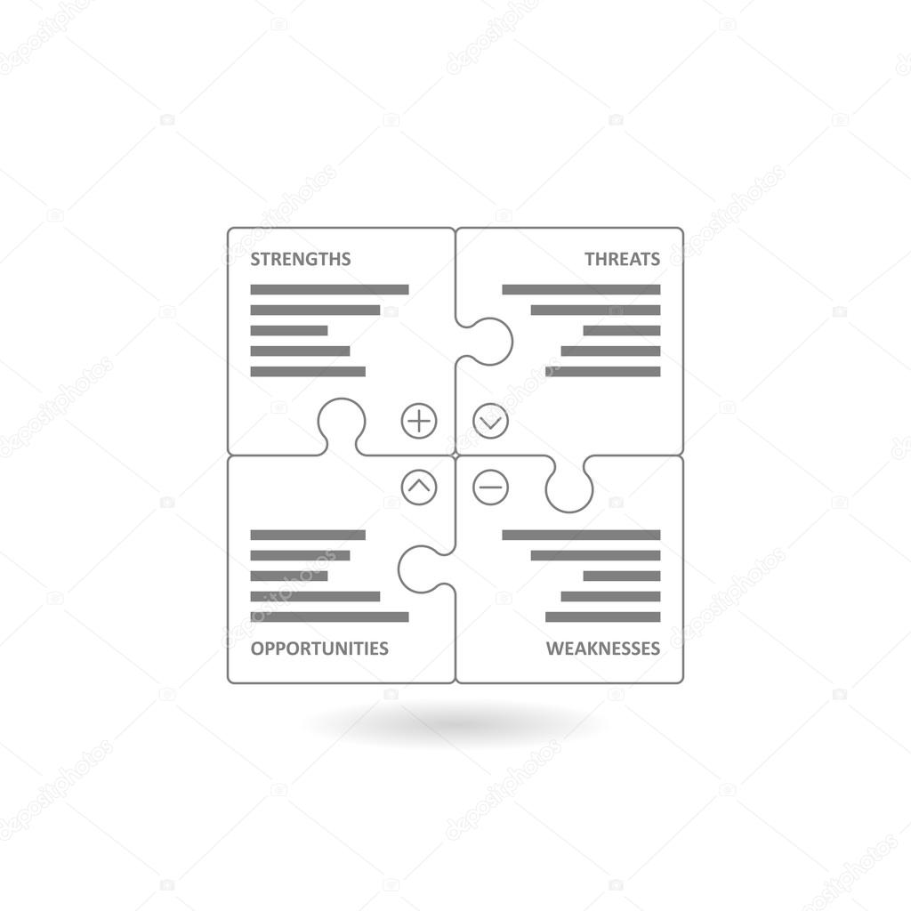 Pedaos formando o diagrama swot quadrado vetores de stock line art puzzle pieces forming a square swot diagram vector graphic illustration template isolated on white background vetor de iterum ccuart Choice Image