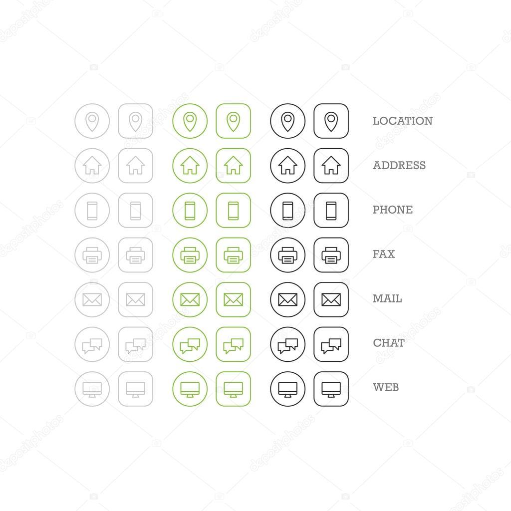 Jeu Dicones De Plat Polyvalents Pour Carte Visite Web Affaires Finance Et Communication Modele Graphique Vecteur Illustration