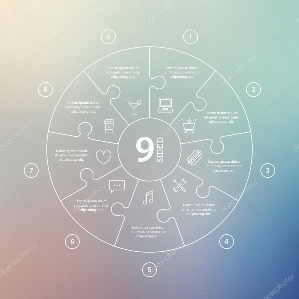 Business concept with options parts steps or processes circle circle puzzle infographic template for cycle diagram graph presentation and round chart vector blur background vetor por iterum ccuart Images