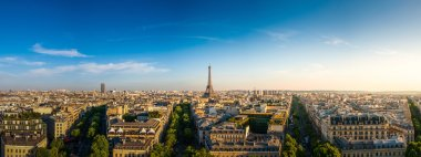 The Eiffel Tower and panorama view of Paris, France.