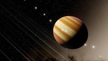 gas giant in space, Jupiter-like planet, Neptune-like planet 3d render