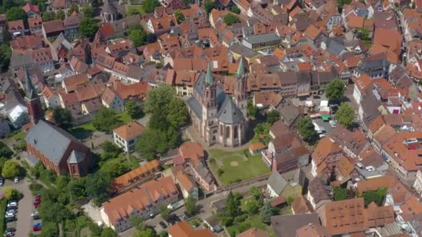 Aerial  of the town Ladenburg in Germany beside the neckar river on a sunny day in spring.