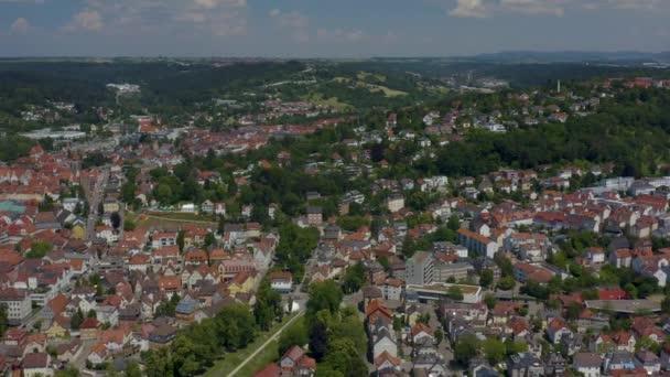 Vzduch staré části města Schwaebisch Gmuend v Německu.