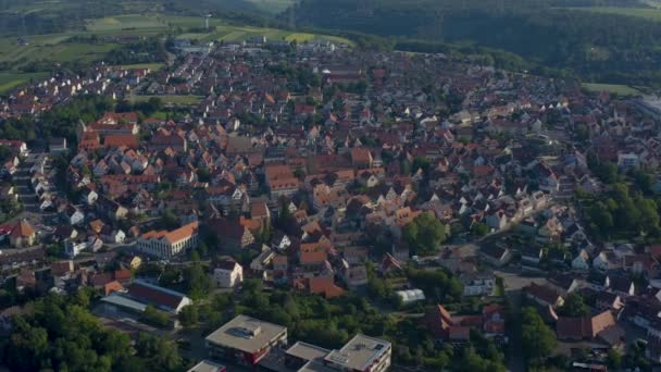 Aerial of the old part of town from Markgroeningen in Germany on a sunny morning inspring.