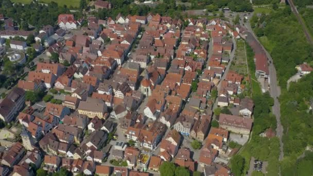 Aerial of the old part of town in Marbach am Neckar in Germany. On a sunny day in Spring.