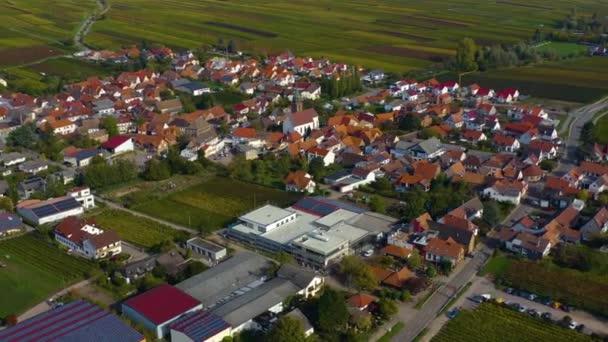 Légi kilátás szőlőskertek, házak körül a falu Burrweiler és Frankweiler a Pfalz Németországban. Egy napsütéses napon ősszel, ősszel..