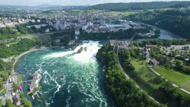 Aerial view of the Rhein Falls, waterfall in Switzerland on a sunny day in summer.