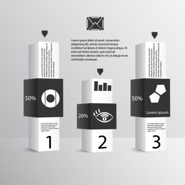 Infographics in blocks with interest