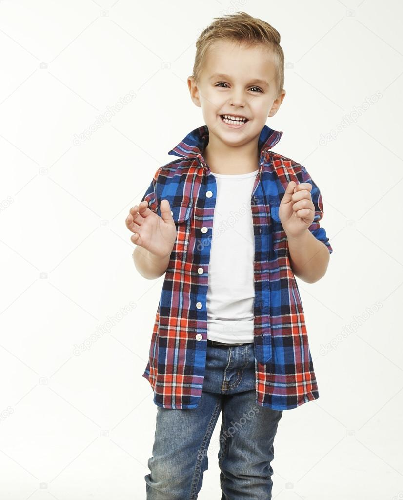 funny childfashionable little boy in glasses jeans