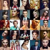 Hipster-Menschen-Konzept. Collage (Mosaik) modische Männer, Frauen mit stilvollen Accessoires, Gläser, gesunde und ungesunde Lebensmittel, trendige Kleidung tragen. Hautnah. Studioaufnahme