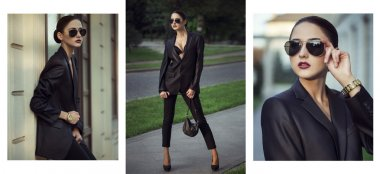Female beauty concept. Portrait of fashionable young girl in classic clothes (suit) and sunglasses posing on the street. Perfect hair & skin. Vogue style. outdoor shot, collage