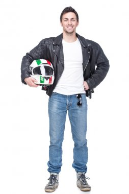 Portrait of a young motorcyclist is holding a helmet posing isolated on white background. stock vector
