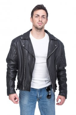 Portrait of a young man in a leather jacket and sunglasses, isolated on white background. stock vector