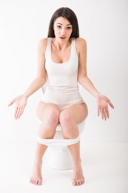 Woman in toilet