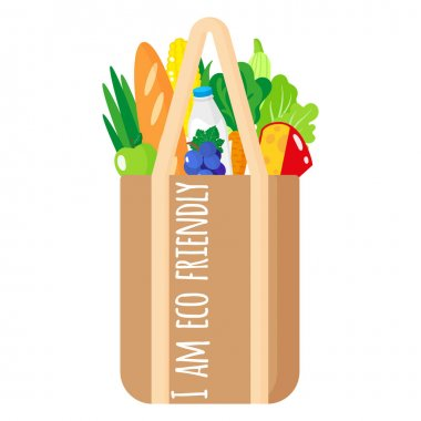 Vector cartoon illustration of full fabric grocery bag with healthy organic food isolated on white background. Caring for the environment concept. Eco-food shopping.