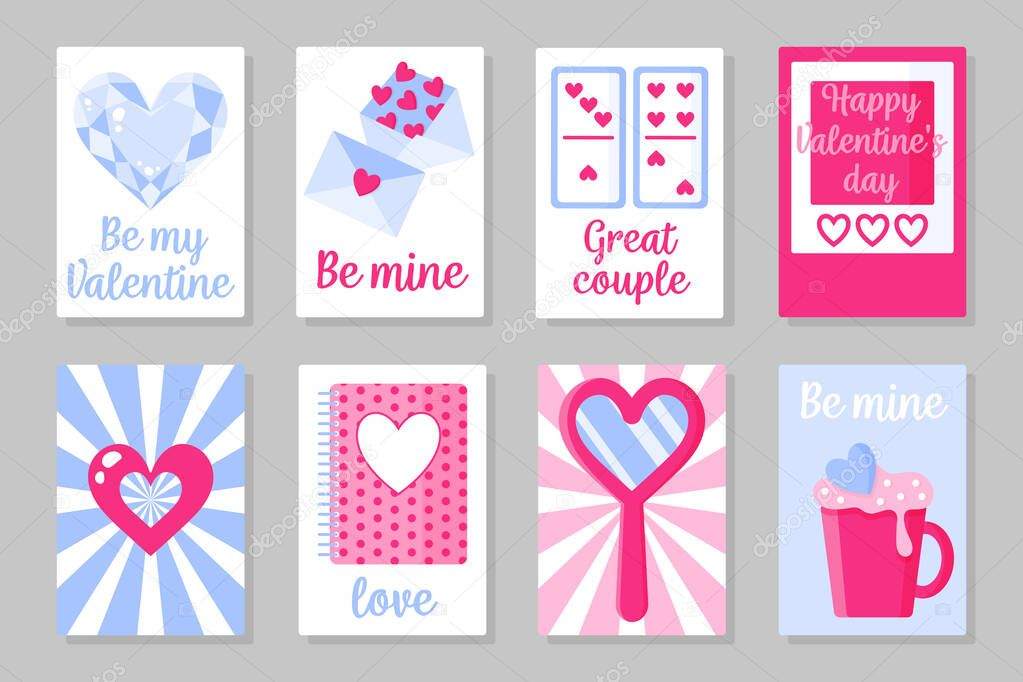 Set of pink  white and blue colored cards for Valentine's Day or wedding icon