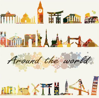 Travel and tourism locations around the world dotted vector illustration