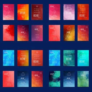 Mega Set of 24 Abstract Flyer Geometric Triangular Red, Purple and Pink Modern Backgrounds - EPS10 Brochure Design Templates, Book Covers, Flyer Template Clean and Modern Concept , A4 format