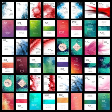 Mega Set of 48 Abstract Flyer Geometric Triangular Green, Red and Blue Modern Backgrounds - EPS10 Brochure Design Templates, Book Covers, Flyer Template Clean and Modern Concept , A4 format