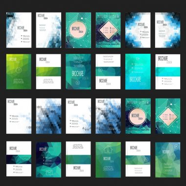 Mega Set of 24 Abstract Flyer Geometric Triangular Green and Blue Modern Backgrounds - EPS10 Brochure Design Templates, Book Covers, Flyer Template Clean and Modern Concept , A4 format