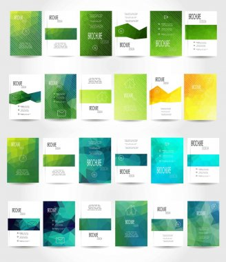 Set of 24 Abstract Flyer Geometric Triangular Green and Yellow Modern Backgrounds - EPS10 Brochure Design Templates, Flyer Template Clean and Modern Concept , A4 format