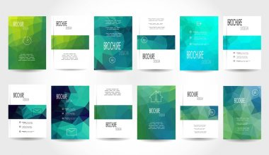 Mega Set of 12 Abstract Flyer Geometric Triangular Green and Blue Modern Backgrounds - EPS10 Brochure Design Templates, Book Covers, Flyer Template Clean and Modern Concept , A4 format