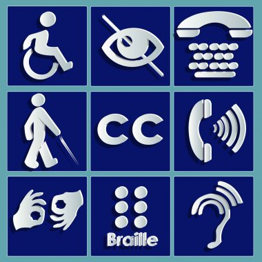 Signs of the different disabilities white paper cut images isolated on blue background - vector illustration