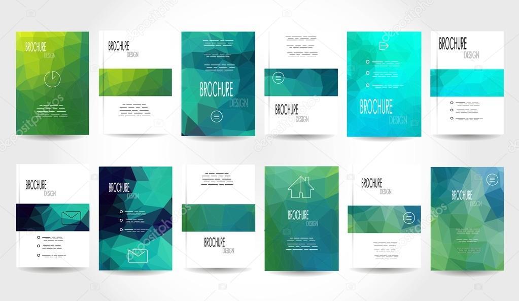 Mega Set 12 abstrakte Flyer geometrische dreieckige grün und blau ...
