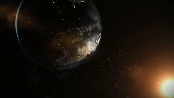 země a asteroidy ve vesmíru