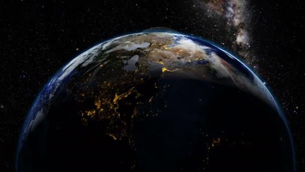 Země, měsíc a milkyway