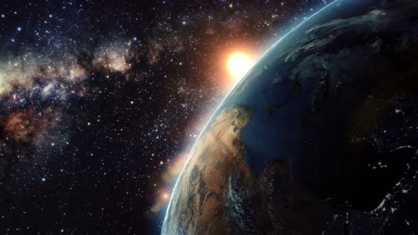 Západ slunce země z vesmíru