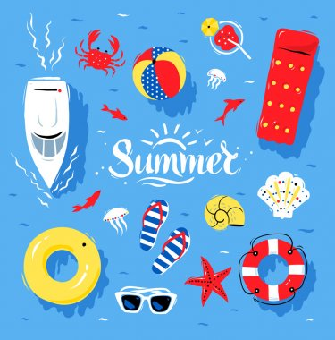 Summertime top view illustrations