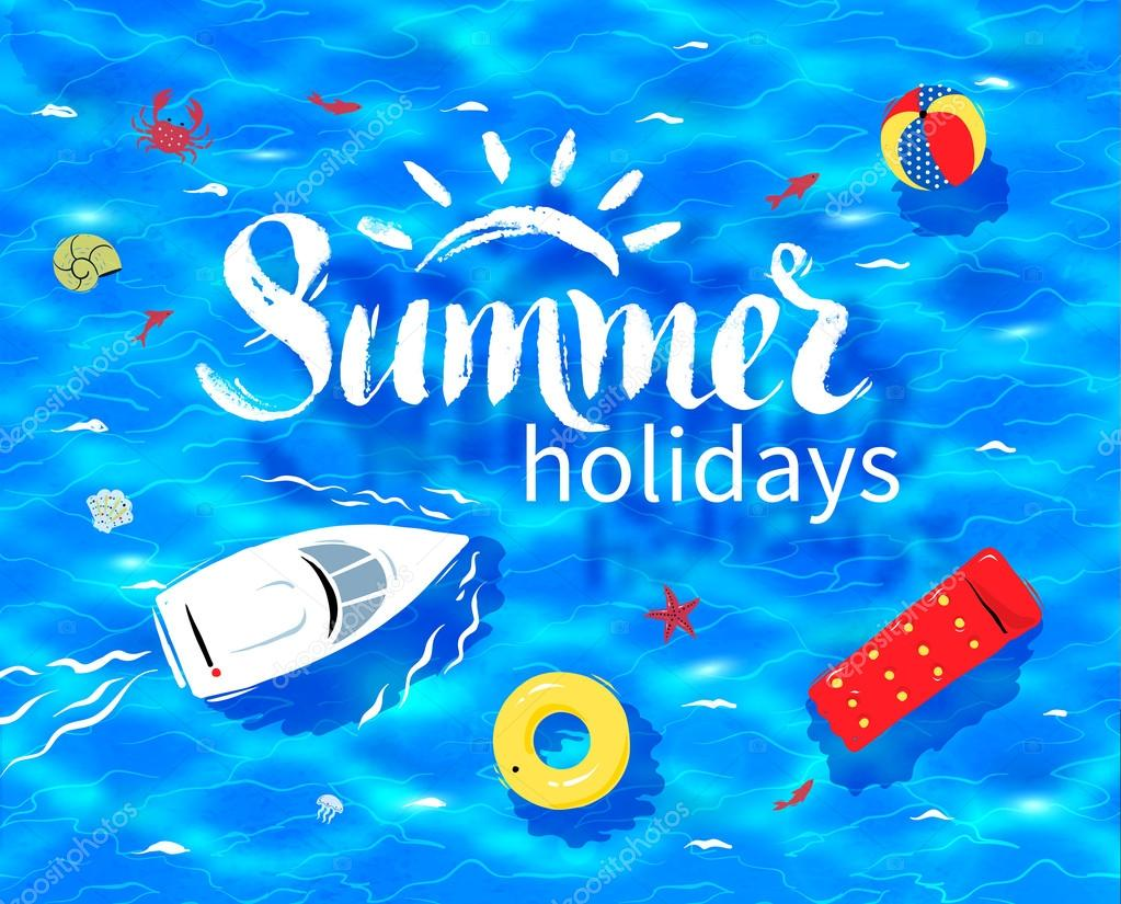 Summer word on sea background